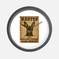 """Wanted"" Miniature Pinscher Wall Clock"