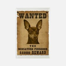 """Wanted"" Miniature Pinscher Rectangle Magnet"