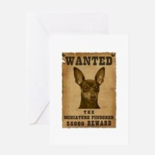 """Wanted"" Miniature Pinscher Greeting Card"