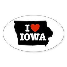 I Love Iowa Oval Decal