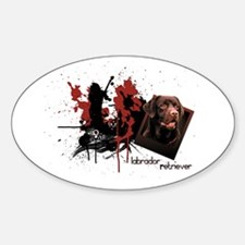 Chocolate Labrador Oval Decal