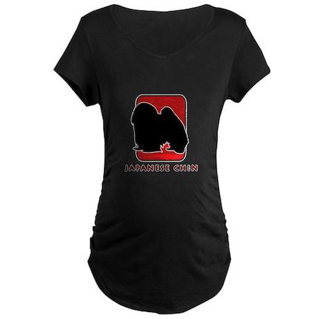 Japanese Chin Maternity Dark T-Shirt
