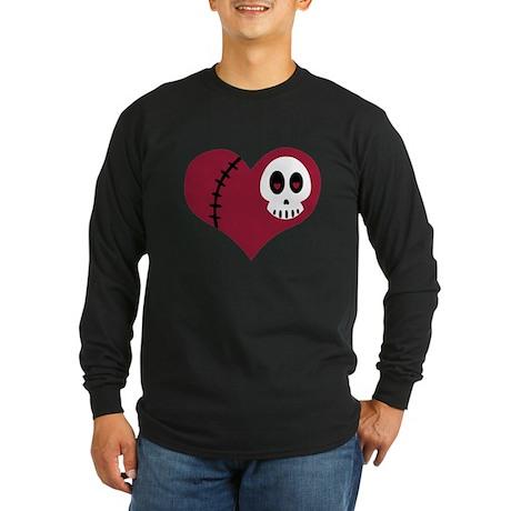 Skull Heart Long Sleeve Dark T-Shirt