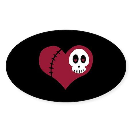 Skull Heart Oval Sticker