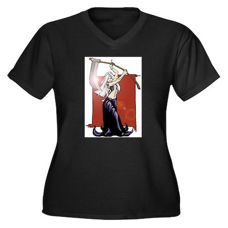 Woman grim reaper Women's Plus Size V-Neck Dark T-