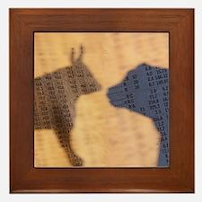 Bull and Bear Silhouette Framed Tile