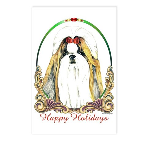 Gold Shih Tzu Holiday Postcards (Package of 8)