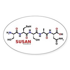 Susan name molecule Oval Decal