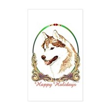 Red Siberian Husky Holiday Rectangle Decal