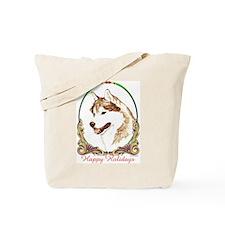Red Siberian Husky Holiday Tote Bag