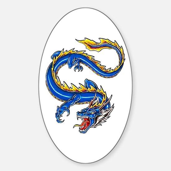 Blue Monster Tattoo Art Oval Decal