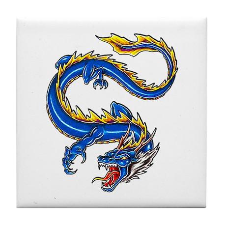 Blue Monster Tattoo Art Tile Coaster
