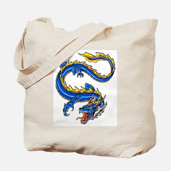 Blue Monster Tattoo Art Tote Bag