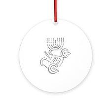 Torah Scroll & Menorah Ornament (Round)