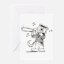 Catoons trombone cat Greeting Card