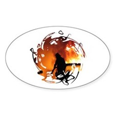 Firefighter Circle of Flames Oval Decal