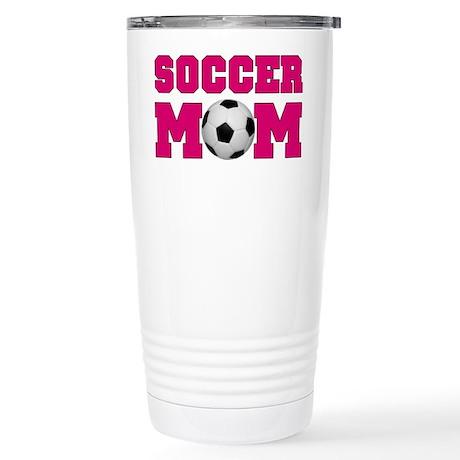 Soccer Mom - Hot Pink Stainless Steel Travel Mug