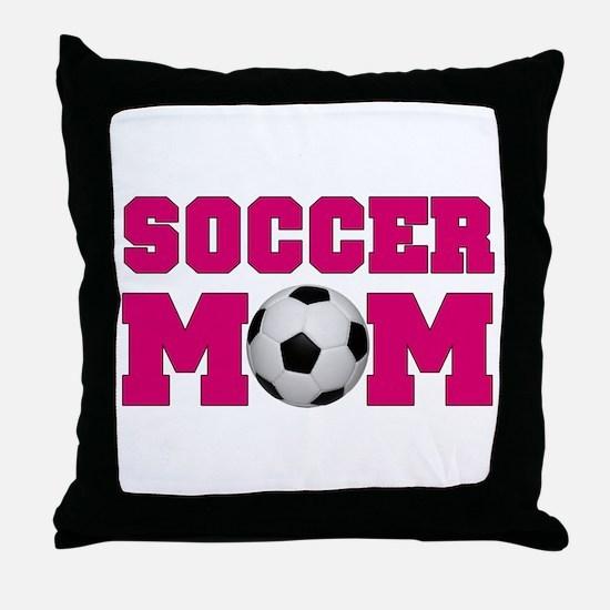 Soccer Mom - Hot Pink Throw Pillow