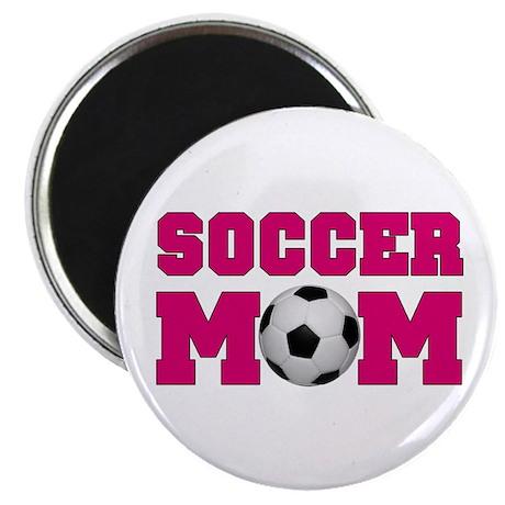 """Soccer Mom - Hot Pink 2.25"""" Magnet (10 pack)"""