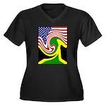 jamaika Women's Plus Size V-Neck Dark T-Shirt