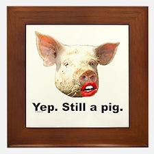 Pig in Lipstick Framed Tile