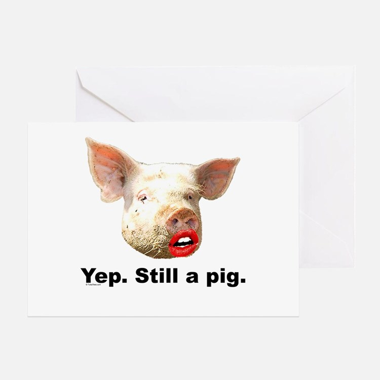Pig in Lipstick Greeting Card