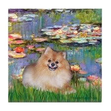 Lilies2/Pomeranian #4 Tile Coaster