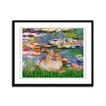 Lilies2/Pomeranian #4 Framed Panel Print