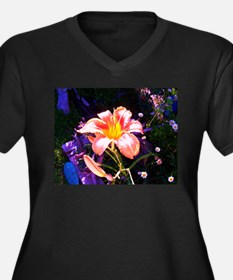 Unique Day lily Women's Plus Size V-Neck Dark T-Shirt