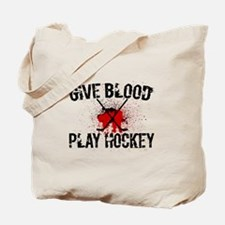 Cute Give blood play hockey Tote Bag