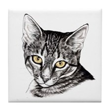 Penciled Tabby Tile Coaster