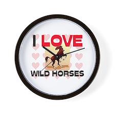I Love Wild Horses Wall Clock