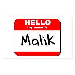 Hello my name is Malik Rectangle Sticker
