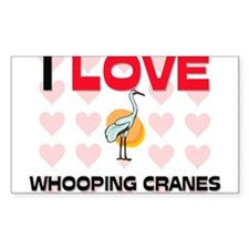 I Love Whooping Cranes Rectangle Decal
