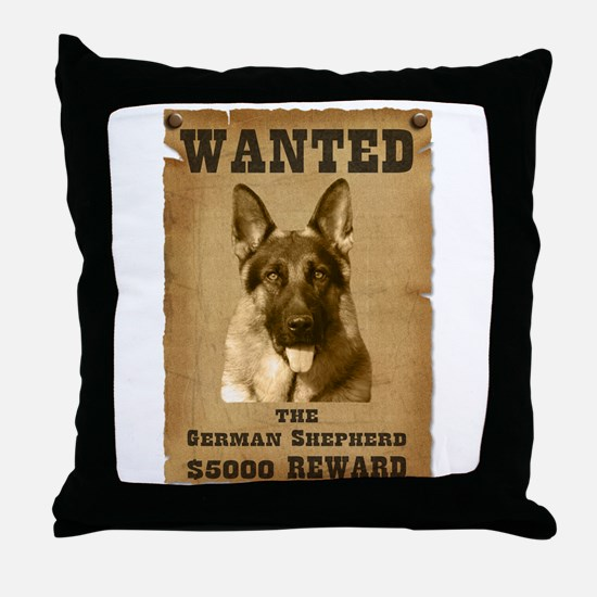 """Wanted"" German Shepherd Throw Pillow"