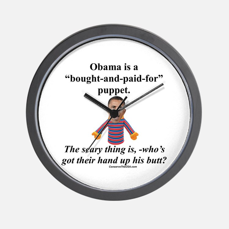"""""""Obama the Puppet"""" Wall Clock"""