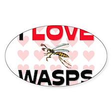 I Love Wasps Oval Sticker