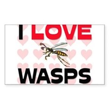 I Love Wasps Rectangle Sticker