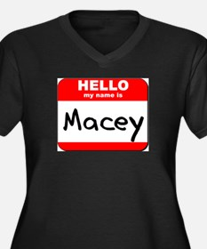 Hello my name is Macey Women's Plus Size V-Neck Da