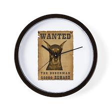 """""""Wanted"""" Doberman Wall Clock"""