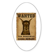 """""""Wanted"""" Doberman Oval Decal"""