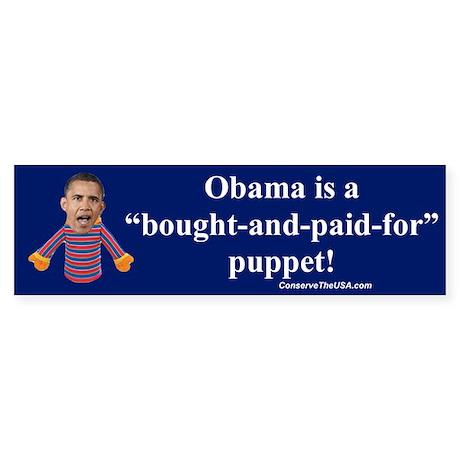 """""""Obama the Puppet"""" Bumper Sticker"""