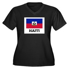 Haiti Flag Women's Plus Size V-Neck Dark T-Shirt
