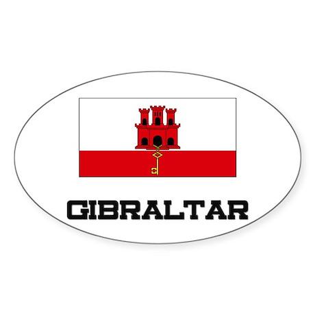 Gibraltar Flag Oval Sticker