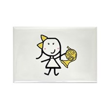 Girl & French Horn Rectangle Magnet