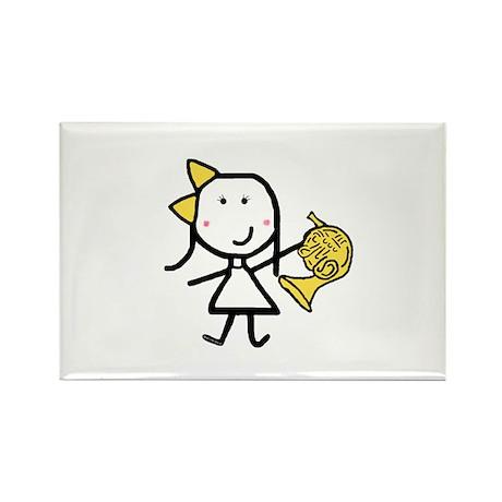 Girl & French Horn Rectangle Magnet