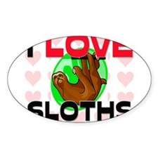 I Love Sloths Oval Decal