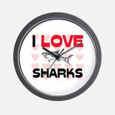 I Love Sharks Wall Clock