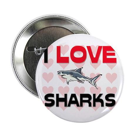 """I Love Sharks 2.25"""" Button"""