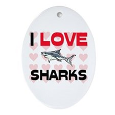 I Love Sharks Oval Ornament